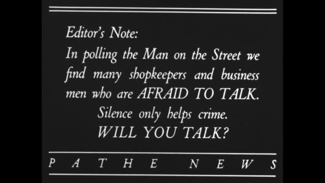 FIGHT CRIME Editor's note In polling the Man on the Street we find many shopkeepers and businessmen who are AFRAID TO TALK Silence only helps crime...