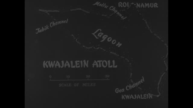 vídeos de stock, filmes e b-roll de kwajalein island great combat pictures by signal corps cameramen of the invasion and capture of kwajalein island in kwajalein atoll the marshalls /... - atol
