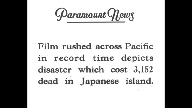 """paramount news special!"" and ""first pictures formosa quake!"" and ""film rushed across pacific in record time depicts disaster which cost 3,152 dead... - taiwan stock videos & royalty-free footage"