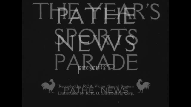 """pathe news presents"", ""the year's sports parade"" / [series of fast wipes] football game / lacrosse match / swimming / men play tennis / woman jumps... - backstroke stock videos & royalty-free footage"