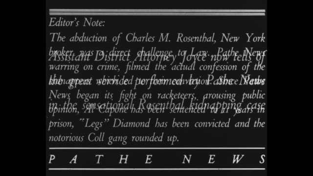 """prosecutor praises pathe news for drive that put kidnappers in jail"" and ""editor's note, the abduction of charles m. rosenthal, new york broker, was... - confession law stock videos & royalty-free footage"