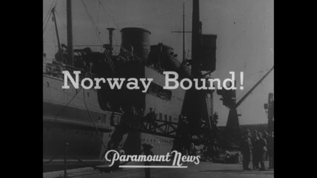 the war gets real and norway bound superimposed on ship / title canadians superimposed on generals maurice gamelin william ironside walking forward... - esercito militare francese video stock e b–roll