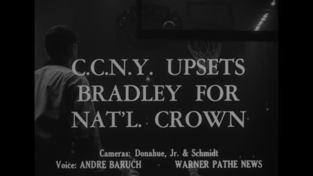 ccny upsets bradley for nat'l crown superimposed over action shot from basketball game between ccny beavers and bradley braves in madison square... - jump shot stock videos and b-roll footage