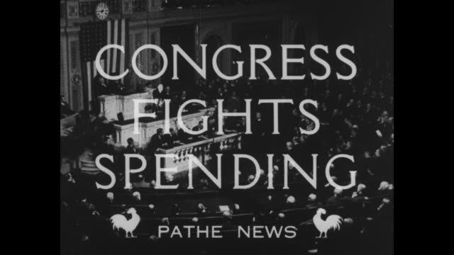 """""""congress fights spending"""" superimposed over session of us congress / title """"$35 000,000"""" superimposed over ext us treasury building with traffic... - debt stock videos & royalty-free footage"""