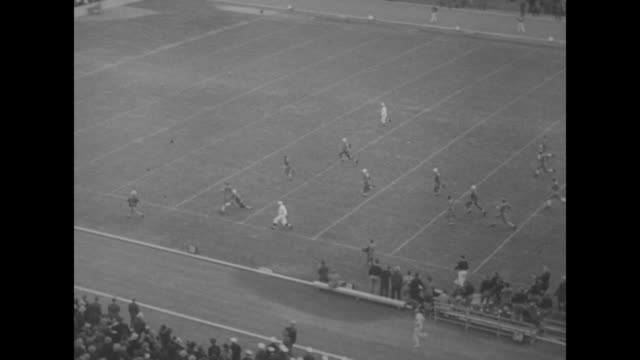 Football superimposed over college football game / 1/1/35 Rose Bowl Alabama Crimson Tide plays against Stanford Indians in Pasadena CA / 10/12/35...