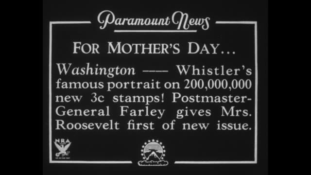 """for mother's dayƒ washington """" whistler's famous portrait on 200 000 new 3c stamps! postmaster-general farley gives mrs. roosevelt first of new... - postage stamp stock videos & royalty-free footage"