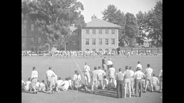 trojans train on gridiron / various shots of usc trojans players playing a scrimmage on practice field at university campus with crowd watching from... - 1934 stock videos & royalty-free footage