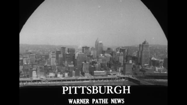 title great cities of america superimposed over the great seal of the united states / title pittsburgh superimposed over ws skyscrapers in the city's... - pittsburgh video stock e b–roll