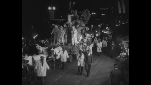 hail to the mardi gras new orleans a pageant of fun southern style night festival climaxes the prelenten season in a riot of merrymaking and jollity/... - gras stock videos and b-roll footage