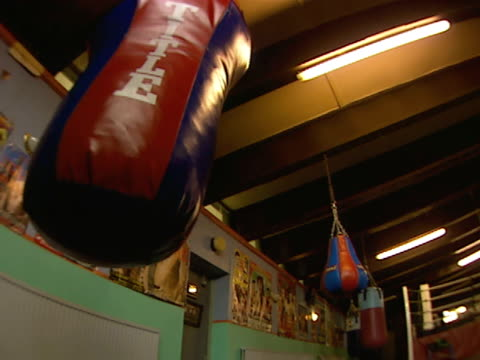 stockvideo's en b-roll-footage met title heavy bag hanging in empty gym td ws empty boxing gym w/ hanging speed bags practice ring bg - stootzak fitnessapparatuur