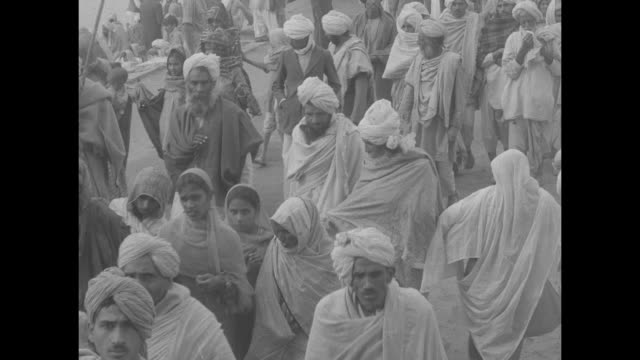 vídeos de stock, filmes e b-roll de hindus purge sins at rites during eclipse over large crowds / procession of indian men gathered around two large horns / crowd of men and women... - seminu