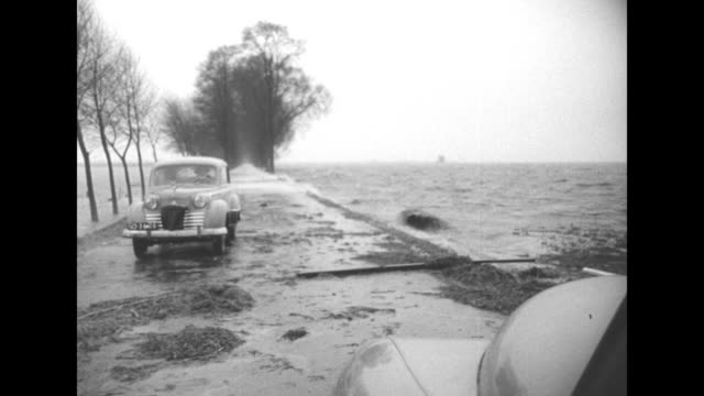 title holland superimposed over flood aerial / aerial can see part of plane wing / aerial maybe horses in water / car moving on road surrounded by... - 1953 bildbanksvideor och videomaterial från bakom kulisserna