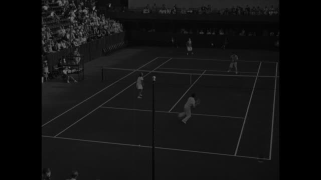 vídeos y material grabado en eventos de stock de title hollywood calif superimposed over helen wills moody playing tennis narrator says that here in filmland moody is starting comeback / tennis... - narrar
