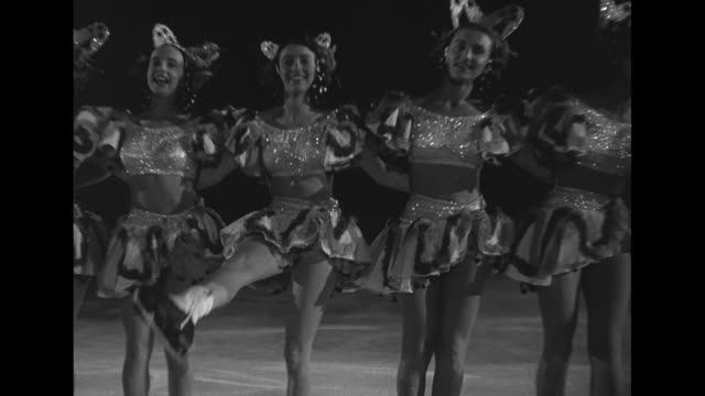 title icecapades superimposed over skater's legs spinning / rotating line of costumed figure skaters / closer shot skaters / line of skaters kicking... - performing arts event stock videos and b-roll footage