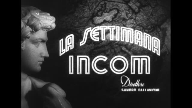 Title 'La Settimana Incom' superimposed over rotating globe and side view of statue / title in Italian superimposed over marching band on arena field...