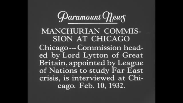 """manchurian commission at chicago: chicago -- commission headed by lord lytton of great britain, appointed by league of nations to study far east... - manchuria region stock videos & royalty-free footage"