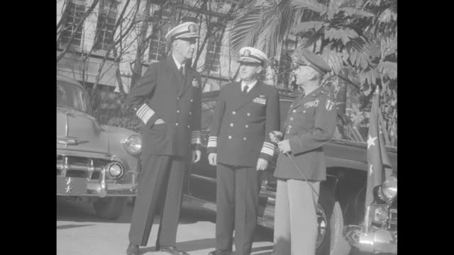 """""""navy's pacific chief visits formosa"""" superimposed over military men / two shots admirals felix stump and alfred n price, gen william c chase / vs... - us navy stock videos & royalty-free footage"""