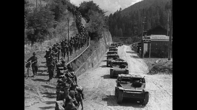 vídeos de stock, filmes e b-roll de northern italy superimposed over mountains of the italian alps / montage italian military officers stand with king victor emmanuel iii and benito... - benito mussolini