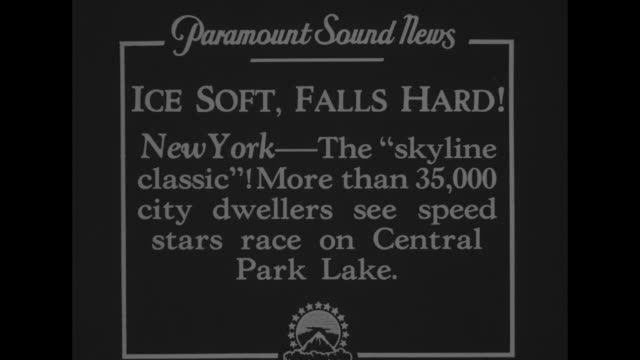 Ice Soft Falls Hard New York The 'skyline classic' More than 35000 city dwellers see speed stars race on Central Park Lake / WS crowd gathered around...