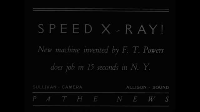 Speed X Ray New machine by F T Powers does job in 15 seconds in NY / two XRay technicians prepare machine for young girl as another leaves / closer...