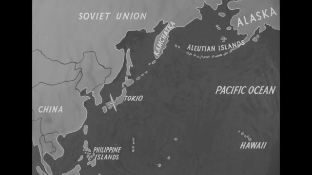 "vídeos de stock e filmes b-roll de ""where is shangri-la"" superimposed over drawing of island in ocean / map of soviet union, china, philippine islands, aleutian islands and japan,... - pacific war"