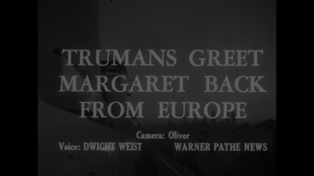 stockvideo's en b-roll-footage met people in the news superimposed over people riding escalators / title trumans greet margaret back from europe superimposed over view of deck of ocean... - margaret truman