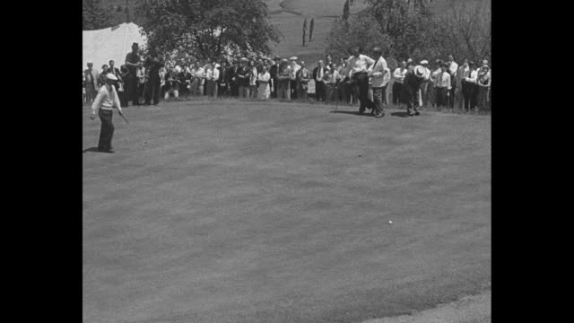 pittsburgh superimposed over herman denny shute driving golf ball in pga championship at pittsburgh field club / harold jug mcspaden drives golf ball... - jug stock videos & royalty-free footage