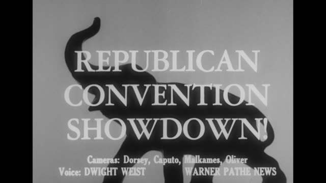 republican convention showdown superimposed over silhouette of an elephant the symbol of the republican party [shaky video] / vs title card... - partito repubblicano degli usa video stock e b–roll