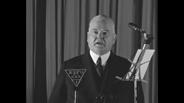 """""""san francisco, calif."""" superimposed over former us president herbert hoover at speaker's table during banquet / sot hoover begins speech / sot: we... - missions of california film title stock videos & royalty-free footage"""