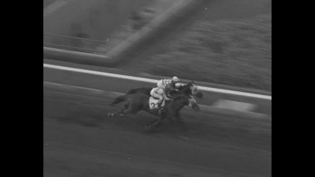 """""""san juan capistrano handicap!"""" superimposed over race horses exiting the starting gate / gv crowds under grandstand overlooking santa anita park... - missions of california film title stock videos & royalty-free footage"""