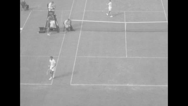 seixas takes us national tennis title superimposed over american vic seixas and australian rex hartwig walk toward camera with rackets at the us... - tennis racket stock videos & royalty-free footage