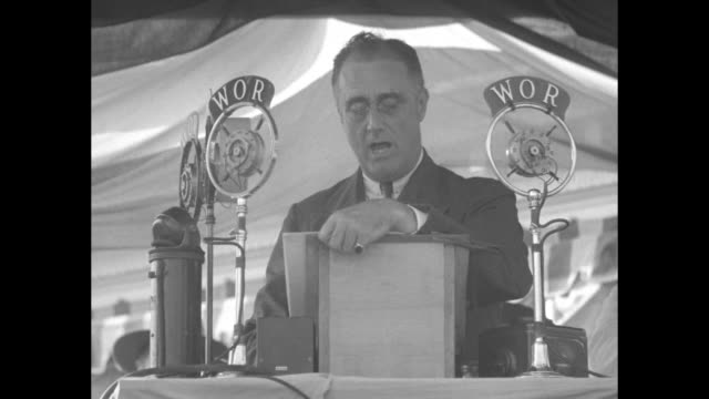 stockvideo's en b-roll-footage met roosevelt or hoover democratic nominee clears up party stand on prohibition at rally in sea girt nj / ms democratic presidential nominee franklin d... - presidentsverkiezing