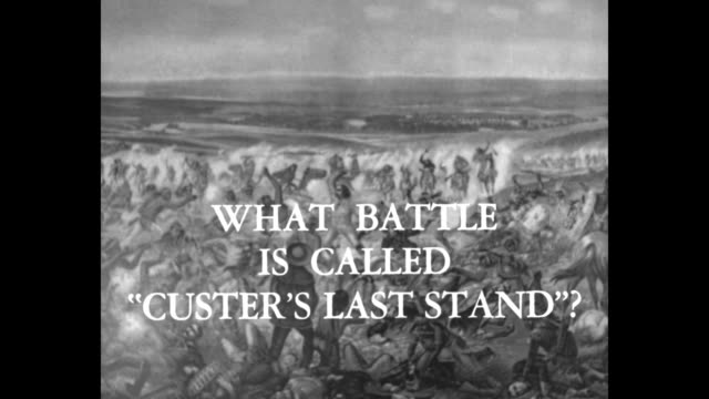 title superimposed on painting of gen george armstrong custer's battle what battle is called 'custer's last stand' / battle of the little bighorn... - question mark stock videos & royalty-free footage