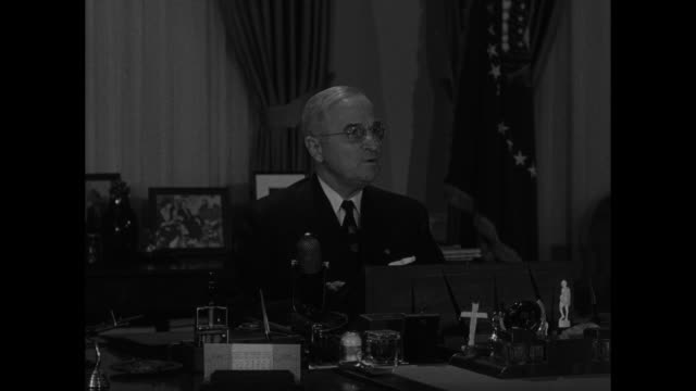 """title superimposed on south lawn of white house, """"president truman's farewell"""" / harry truman / wide view of him in oval office over cameramen /... - harry truman stock videos & royalty-free footage"""