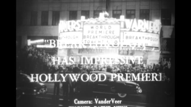 title superimposed on theater marquee 'breakthrough' has impressive hollywood premiere / silhouetted gun barrel of tank rolls past illuminated... - gun barrel stock videos & royalty-free footage