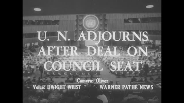 'U N adjourns after deal on council seat' / UN General Assembly hall / Philippines delegate Carlos P Romulo / Yugoslavian delegate Leo Mates / VS...