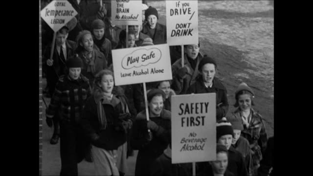 ads titles 'say no' 'drinking amp driving do not mix' dramatization woman talking about liquor makers 'moderate' drive only to sell more liquor... - 1937 stock videos and b-roll footage