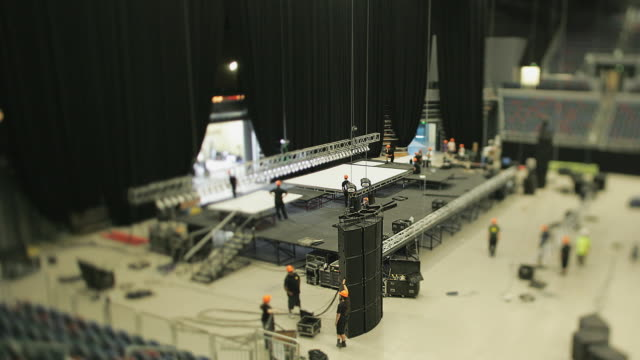 ws t/l stage-hands preparing stage for concert event / auckland, auckland, new zealand - entertainment building stock videos & royalty-free footage