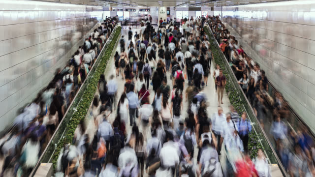 tl/pd/zo pan down/zoom out time lapse of hong kong, business people and commuters using escalators inside central underground train subway station - underground station stock videos & royalty-free footage