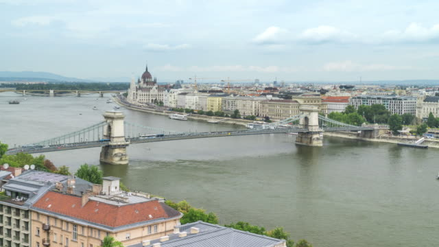 tl:szechenyi chain bridge and in budapest, hungary in weekend - cultura ungherese video stock e b–roll