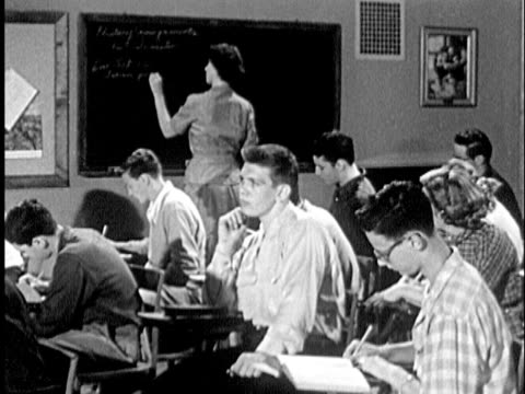 b/w ms zi to ms 1951 group of students in classroom, teenage boy daydreaming / usa - daydreaming stock videos & royalty-free footage