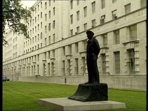 BAE to be investigated by Serious Fraud Office ITN 'Ministry of Defence' sign LA Windows of building Statue outside Ministry of Defence LA Flag...