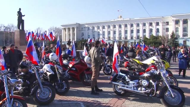 to celebrate the five year anniversary of the annexation of ukraine's crimean peninsula by russia the russian nationalist motorcycle club the night... - sevastopol crimea stock videos and b-roll footage