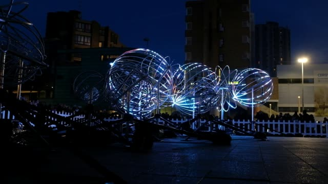 vidéos et rushes de to celebrate the renovation of the public lighting network new edition of winter lights spectacular show wish blow on december 14 2019 in cergy france - bruno levesque