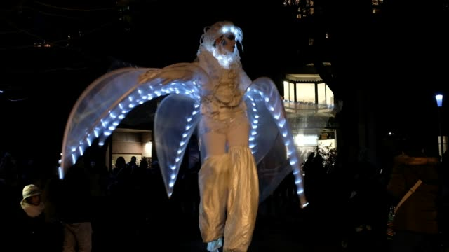vidéos et rushes de to celebrate the renovation of the public lighting network new edition of winter lights spectacular show and ambulation of the company porte par le... - bruno levesque