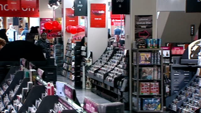 General views of HMV store ENGLAND London INT * * Music heard during the following shots SOT * * General view of HMV shop floor from ascending...