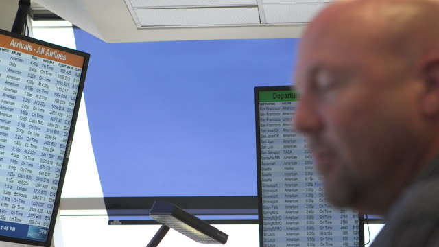 R/F to close-up of air traffic control worker/DFW International Airport, Dallas-Fort Worth, Texas, USA