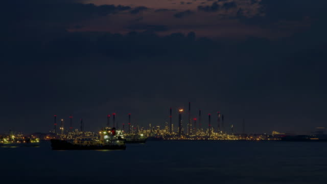 4K TIME LAPSE NIGHT to DAY (4096x2160) : The oil refineries at Singapore(Apple ProRes. 422(HQ))