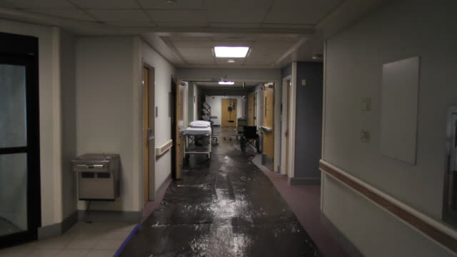 ZI to empty corridor of closed hospital