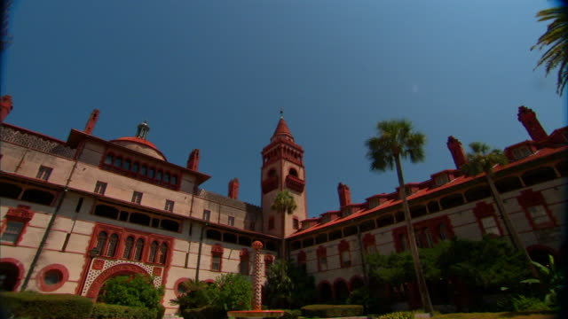 to ws flagler college courtyard of ponce de leon hall fl private liberal arts - education building stock videos & royalty-free footage